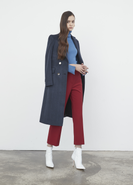 Herringbone Cashmere Double Coat