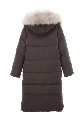 ◈Diamond Quilting Fox Fur Goose Down Long Padding [40%]