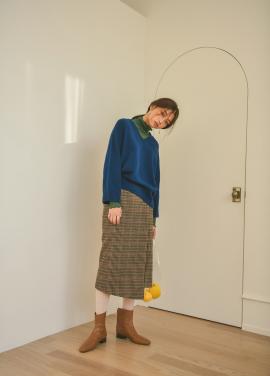 Unbalance Wrap Check Skirt