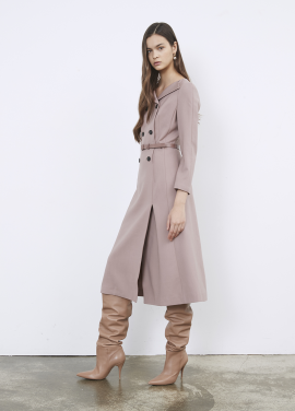 Collar Point Double Button Wool Blended Dress