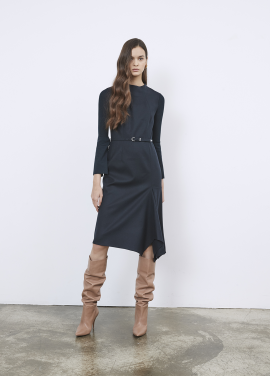 Unbalance Flare Design Knit Sleeve Dress