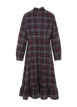 ◈Neck Frill Check Cotton Dress