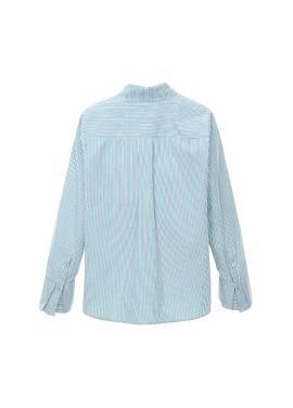 ◈ Mint Stripe Layered Cuffs Blouse