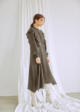 Ruffle Houndstooth Pattern Dress