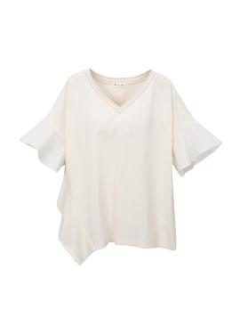 브이넥 러플 티셔츠 [10%]