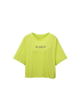 로고 프린트 크롭 티셔츠