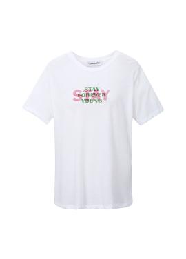 컬러 레터링 슬림 티셔츠