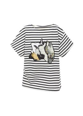 스트라이프 프린팅 티셔츠