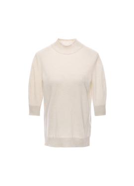 캐시미어 혼방 하프넥 5부 티셔츠