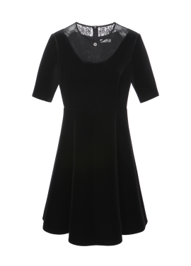 핏앤플레어 벨벳 드레스
