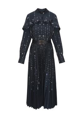 러플 앤 플리츠 유니크 패턴 드레스