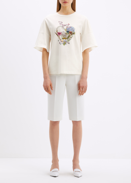코튼 프린트 포인트 티셔츠