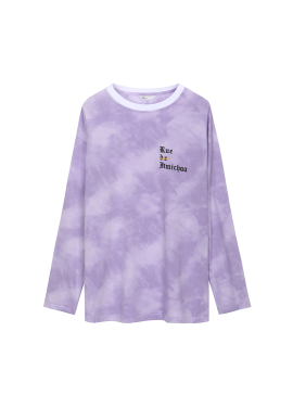 [Exclusive][RUE DE IT][남녀공용] 유니섹스 롱 슬리브 나염 티셔츠