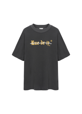 [Exclusive][RUE DE IT][남녀공용] 유니섹스 반소매 레터링 티셔츠