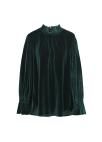 ◆ Velvet Neck Shirring Blouse