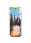 City Printing Back Point Sleeveless Dress