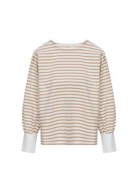 [홀리데이][Exclusive][RUE]퍼프소매 스트라이프 티셔츠